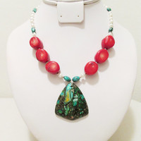 Matrix Pyrite Turquoise, Red Coral, Turquoise & Freshwater Pearl Beaded Pendant Necklace