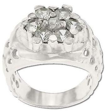 Sterling Silver Men's Style 7 CZ Cubic Zirconia Hex Hole Sides Ring