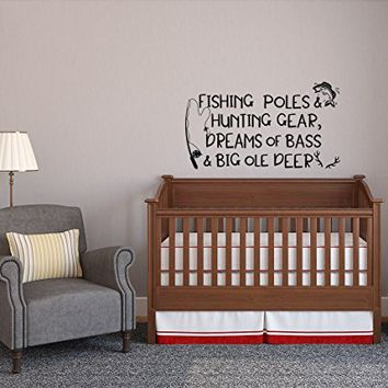 WonderWallzStore Fishing Poles and Hunting Gear Dreams of Bass and Big Ole Deer Removable Wall Decal Quote - Fishing Cabin Lake Wall Decal Woodland Nursery