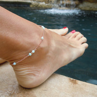 Caribbean Dream Anklet Peruvian Opal Anklet Rose Gold by TatiRocks