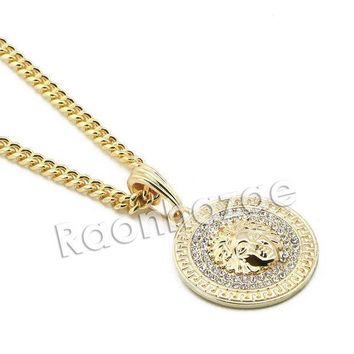 CREYA8C Mens Iced Out Brass Gold Medusa Charm Pendant w/ 5mm 24' 30' Cuban Chain A07G