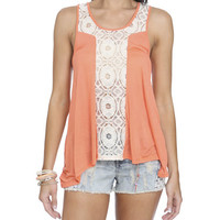Crochet Front Inset Tank | Shop Galaxy at Wet Seal