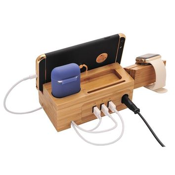 BoxThink Airpods Charging Station Apple Watch Charger Stand iphone Charging Dock Cable Management,Bamboo Wood Charging Station with 3 USB Power Ports for AirPods/Apple Watch Series3/2/1/iPhone