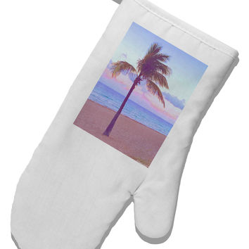 Palm Tree Beach Filter White Printed Fabric Oven Mitt