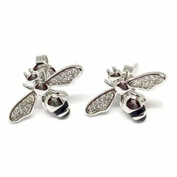 BEE CRYSTALS WINGS STUDS SILVER PLATED EARRINGS