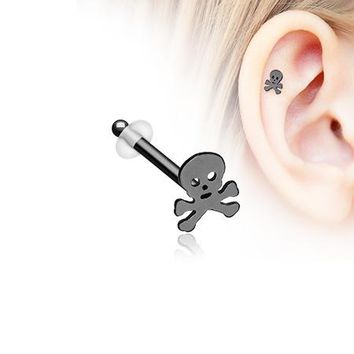 Blackline Pirate Skull Piercing Stud with O-Rings