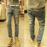 Light Wash Distressed Ripped Jeans