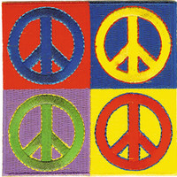 Peace Signs Iron-On Patch Four Square Logo