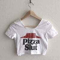 Pizza Slut Vintage Print Relaxed Fit Crop Top