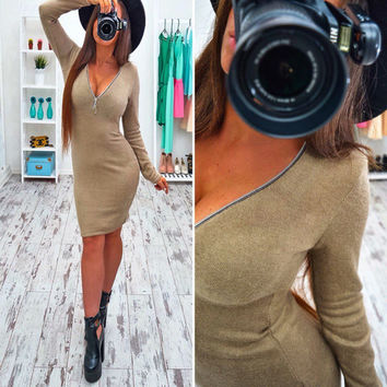 Sexy Deep Zipper V Neck Long Sleeve Bodycon Short Dress