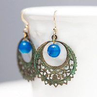 Verdigris Hoop Floral Earrings Patina Peacock Feather Earrings Green Hoop Blue Bead Earrings - E114