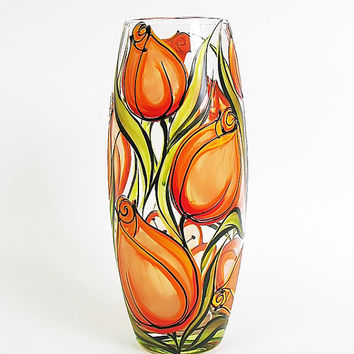 Hand painted glass vase- Orange tulips, Wedding vase, Birthday vase, Home decor, Mother's day gift, White vase, Flowers vase, Orange vase