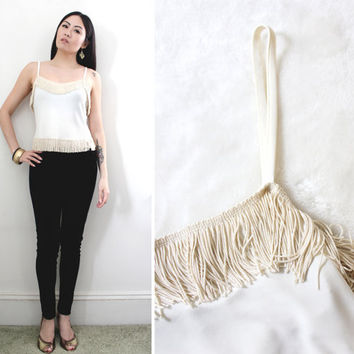 Vintage 90s Moschino Fringe Top - Spaghetti Strap Tank - Size Small to Medium