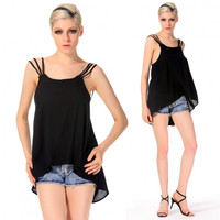 Newest Sexy Women Casual Strap Backless Solid Tank Asymmetric Hem Back Button Tank Vest Tops