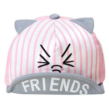 PEAP78W Summer Cute Peaked Cap Baby Girls Boys Sun Beach Hat Lovely Cartoon Cat Print Newborns Hat