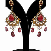 Designer Fashion Earrings for Girls in Red and White Stones