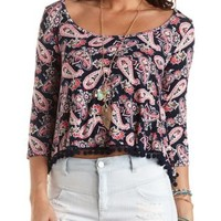 Pom-Pom Trimmed Paisley Print Top by Charlotte Russe - Navy Combo