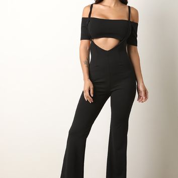 Two-Piece Bardot Crop Top with Overall Pants Set
