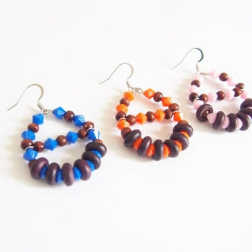 Wood and electric blue beads earrings, Nickel Free