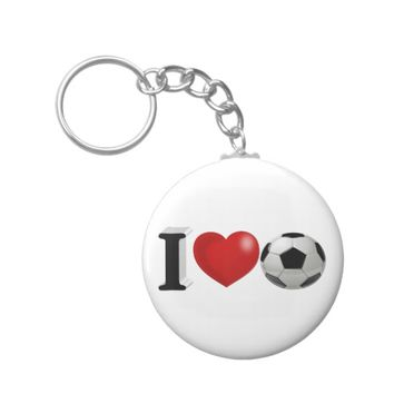 I Love Soccer 3D Key Chains