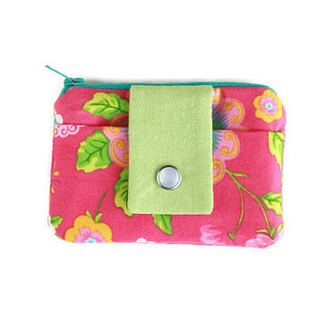 Pink Flower Coin Purse and Card Holder, Womens Wallet, Small Zippered Pouch with FREE SHIPPING