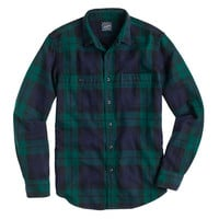 J.Crew Mens Herringbone Flannel Shirt In Black Watch Plaid