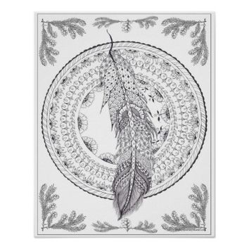 Feathered Circle Art Nouveau Adult Coloring Poster