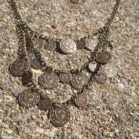 Greek Goddess - Coin statement necklace