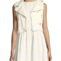 REDValentino Pearl-Embellished Short Leather Vest and Matching Items