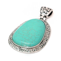 Greek Inspired Oval-like Shape Pendant w/ Turquoise Stone Color: Turquoise
