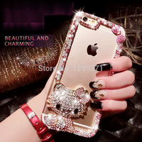 Dower Me For Iphone 7 6 6S Plus 5 5C 4S Samsung Galaxy Note 5 4 3 2 S8 S7/6 Edge Plus S5/4/3 Bling Bowknot Cute Cat Diamond Case