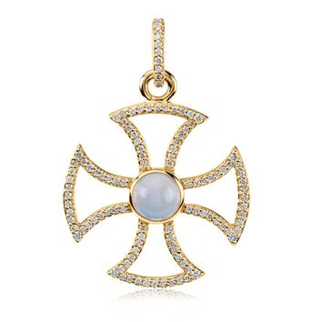 14k Yellow Gold .75 Ctw Diamond & Chalcedony Maltese Cross Pendant