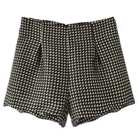 Black High Waist Jacquard Zipper Shorts - Choies.com