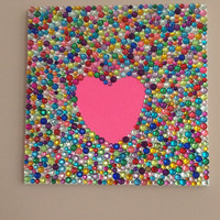 Heart Canvas Decorated With Rhinestones, 12x12 Canvas