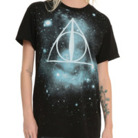 Harry Potter Deathly Hallows Galaxy Cuff Girls T-Shirt
