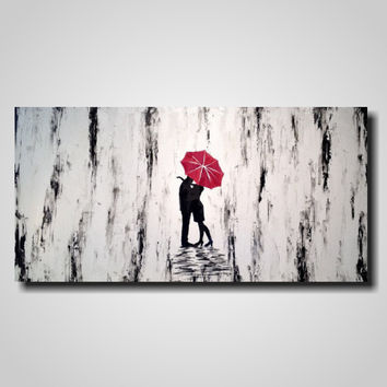 Original Large Abstract painting - 24 X 48 Inches-by Artist JMJartstudio- Hidden Love-Wall art-wall decor - Silhouette painting-Oil custom