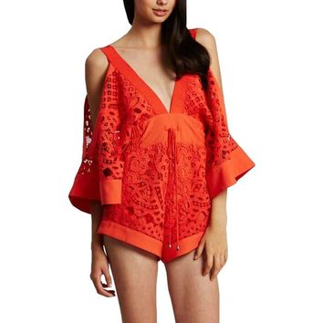 Summer Kimono Sleeves V-Neck Lace Alice McCall Playsuit Wide Short Romper Jumpsuit Beach Sexy Women Overalls Combishort