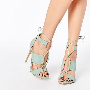 Lost Ink Roisin Ghillie Lace Up Heeled Sandals at asos.com