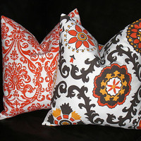 "Orange Decorative Pillows 20x20 Throw Pillow Cover 20"" Brown, Tangerine, White SUZANI damask set of TWO"