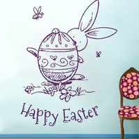 Wall Decals Happy Easter Bunny Egg Decal Decorations Vinyl Sticker Nursery Home Decor Cafe Restaurant Art Murals MS754