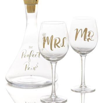 'The Perfect Pair' Decanter and Wine Glasses Set
