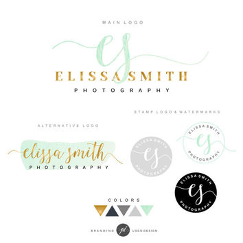 Premade branding kit, Logo design, Watermark, Submark, Gold and mint logo, Handwritten logo, Photography branding, Logo package, Logo set 08