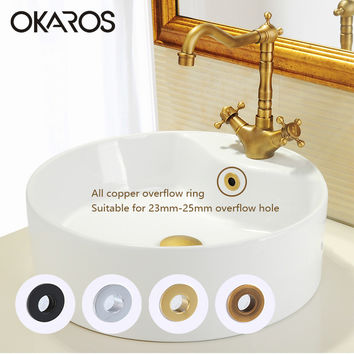 Bathroom Basin Sink Overflow Cover Brass Decoration Six-Foot Ring Bathroom Product Basin Tidy Insert Replacement