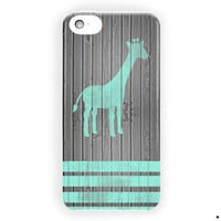 Mint Giraffe Strippes On Dark Wood For iPhone 5 / 5S / 5C Case