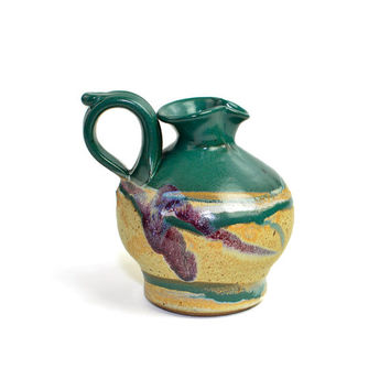Stone Pottery Jug Pitcher - Rustic Southwest Style Abstract Design - Natural Drip Glaze Pattern in Emerald Green - Vintage Vase Decor