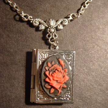 Red Rose Book LOCKET Necklace in Antique Silver