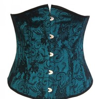 Green Pattern Underbust Gothic Victorian Corset - Devilnight.co.uk