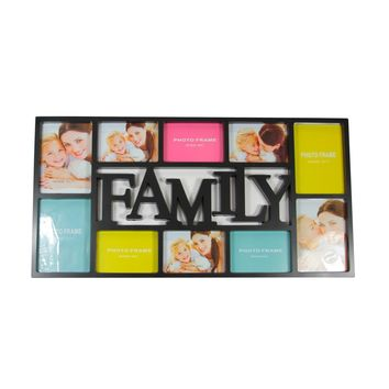 "28.75"" Black Dual-Sized ""Family"" Photo Picture Frame Collage Wall Decoration"