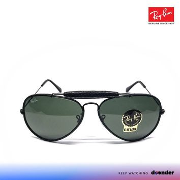 RAY BAN SONNENBRILLE SUNGLASSES 0RB3422Q 9040 AVIATOR LEATHER BLACK