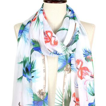 Tropical Flamingo Print Scarf in White